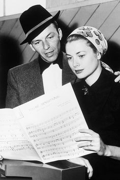 Frank Sinatra and Grace Kelly during rehearsals for High Society, 1956.