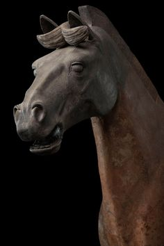 Chariot Horse, Qin dynasty (221-206 BCE), Terracotta, Excavated from Pit 1, Qin Shihuang tomb complex 1978.  Image from the Qin Shihuang's Terracotta Warriors and Horses Museum, ©Photograph by Xia Juxian and Guo Yan