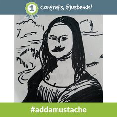 Congrats to @jusbendo - the #addamustache Daily Doodle Challenge winner of 500 SB for 9.17.14!