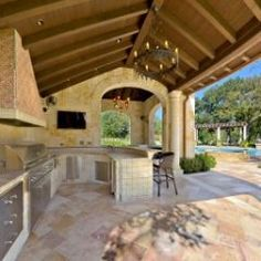 Large open outdoor kitchen area!