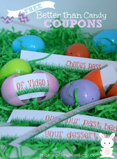 FREE Printable Coupons for Easter Eggs! A Great alternative or addition to Candy!  www.makinglifewhimsical.com #easter