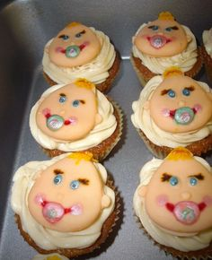 Baby shower baby face cupcakes