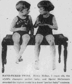 """A photo of two baby contest winners, published in the Baltimore American newspaper (Baltimore, Maryland), 28 December 1922. Read more on the GenealogyBank blog: """"6 Genealogy Projects to Interest Kids & Teens in Family History."""" http://blog.genealogybank.com/6-genealogy-projects-to-interest-kids-teens-in-family-history.html"""