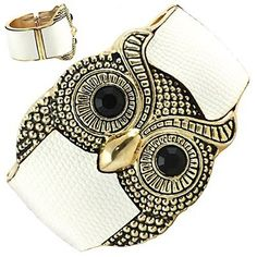 Goldtone White Leather Owl Bangle Fashion Bracelet PammyJ Bracelet. $19.99. GOLDTONE OWL. LEATHER BANGLE BRACELET. ONE SIZE FITS ALL. COMES IN FOIL GIFT BOX. PERFECT FOR GIFT GIVING. Save 44% Off!