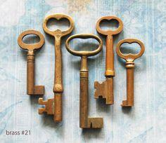 Image detail for -ANTIQUE LOCK KEY Mixed Lot of Vintage Brass Victorian Keys for Diy ...