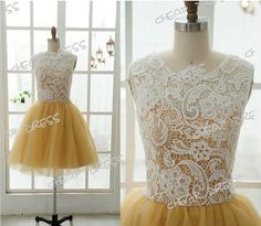 Aline above Knee Length Short Lace Evening/ Party/Homecoming Prom Gown Bridemaid Dress