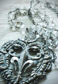Fleur de Lis glass heart necklace