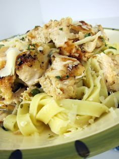 Grilled Chicken Piccata Pasta - Marinate chicken breasts in a lemon pepper marinade, (such as Ken's).  Cook noodles in chicken broth, add garlic, butter & parsley.  Top with grilled chicken