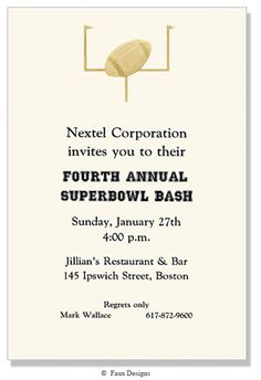 Golden Treasures - Football Invitation from Faux Designs