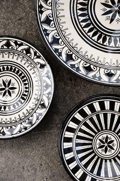 Moroccan black + white dishes.