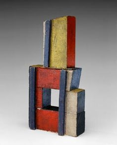 Joaquín Torres-García  Estructura en Colores Puros (Structure in Primary Colors) 1929  Oil and nails on wood  Dimensions cm 22.7 x 11.4 x 4.4  Dimensions in 9 x 4-1/2 x1-3/4