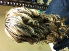 Blonde highlights with darker ombré mixed in!