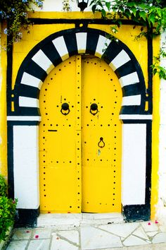 Bumble Bee Yellow Door, Black and White Striped Arch