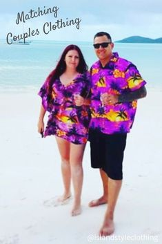 Purple Party Ready! Matching Couples Clothing Set. Hawaiian Shirt & Kaftan set in vintage Hawaiian Print 'Purple Sunset'. Fancy Dress Costume, Luau Party, Cruising, Honeymoon or Halloween. Stand out from the crowd in this funky set. #matchymatchy #cruisewear #honeymoon #tackytourists #islandstyleclothing #fancydress #hawaiianshirt #kaftan #poncho #couplesgoals #fashion #springbreak #cruise #cruiseclothing