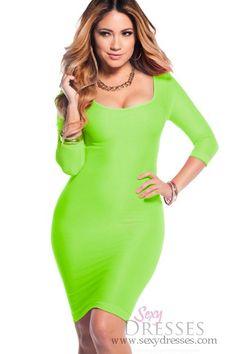 Sexy Neon Green Scoop Neck 34 Sleeve Bodycon Dress