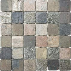 �12-in x 12-in Multicolor Tumbled Slate Natural Stone Mosaic Square Wall Tile (Actuals 12-in x 12-in)