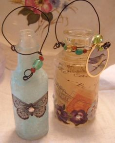 Decoupaged bottles