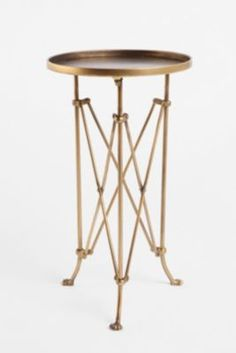 brass side table // urban outfitter furnish, living rooms, accordion side, room idea, end tables, brass side table, bedside tables, furnitur, accent tables