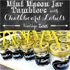 Mini Mason Jar Tumblers with Faux Chalkboard Labels on Diane's Vintage Zest!