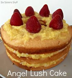 Easy Angel Lush Cake by www.sixsistersstuff.com- a fast summer dessert using a prepared angel food cake! #dessert #cake