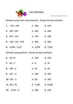 front end estimation worksheets pdf