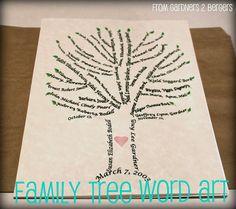 family trees, diy tutorial, famili tree, word art, mother day gifts, tree art, gift idea, art tutorials, christmas gifts