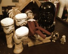 Our elf...  Luke Skywalker took over the nativity tonight...  Of course... Darth Vader is his father...