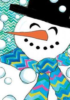 Custom Decor Flag - Chevron Snowman