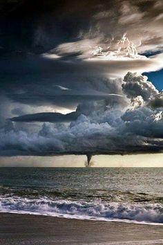 Tornado over the sea #tornado #storm #weather