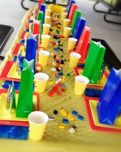 I like the cups and Lego on the table idea.