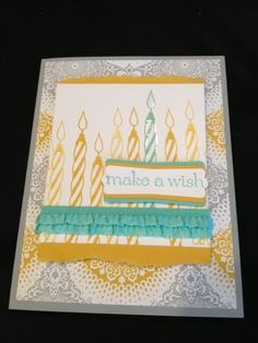 Cycle celebration-Paper: Smokey slate, crushed curry, whisper white, eastern elegance dsp  Ink: crushed curry, coastal cabana  Stamps: sweet essentials, cycle celebration  Accessories: stretch ruffle ribbon in coastal cabana, sticky strip, snail, stampin dimensionals, crystal effects, modern label punch
