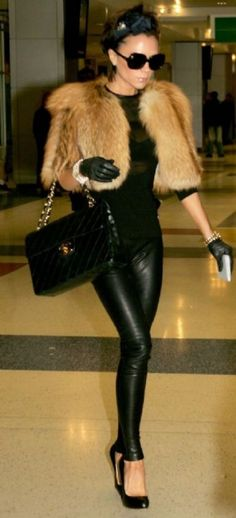 Let me be this skinny. And then I shall wear leather leggings and a Chanel bag all day every day. And a fur to sleep in. And sunglasses day and night. fashion, furs, style, leather pant, outfit, victoriabeckham, victoria beckham, leather leggings, black