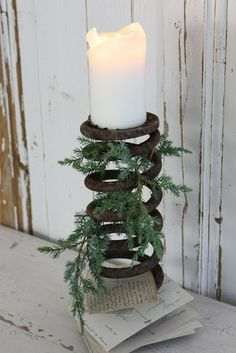 Candle holder from an old spring