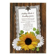 Rustic lace doily and wood sunflower and daisy country Wedding invitation. #countrywedding #sunflowerwedding #weddings #weddinginvitations #rusticwedding   $2.15 per card on basic paper. Volume discounts available up to 45% off. Different paper types to choose from too.