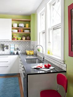 green walls, decorating ideas, small kitchens, green kitchen, small space, subway tiles, white cabinets, color scheme, open shelving
