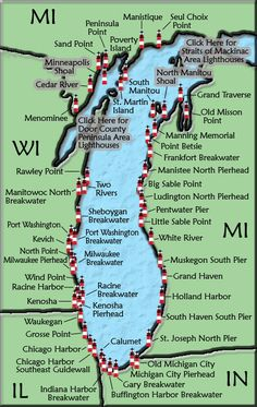 Lake Michigan Lighthouse map