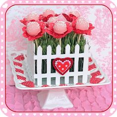 dessert tables, fenc, valentine day, flower cakes, garden cakes, cake pops, valentines day party, flowers garden, parti