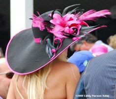 Image detail for -wide brimmed black and pink hat with flowers and feathers