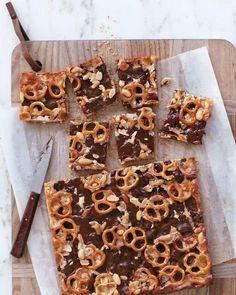 choc pretzel peanut cookie bars