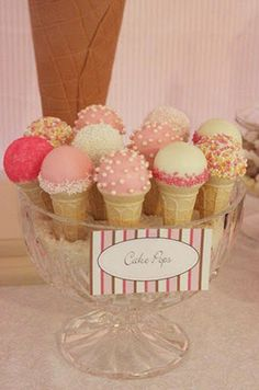 cake balls in ice cream cups - adorable