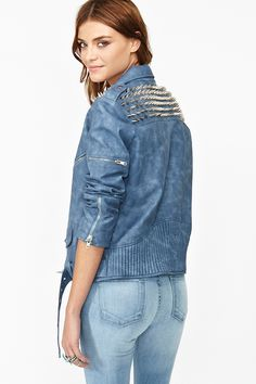 Spiked Moto Jacket in Blue