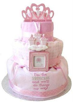 princess diaper, diapers, art, diaper cakes, shower idea, princesses, babi shower, princess cakes, baby showers