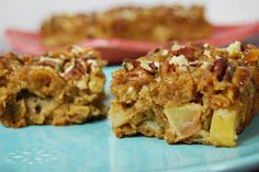 Caramel Apple Bars by theleangreeenbean via fit foodiefinds #Bars #Apple #Caramel