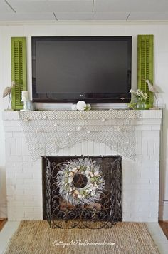 Using shutters around a flat screen TV   Cottage at the Crossroads