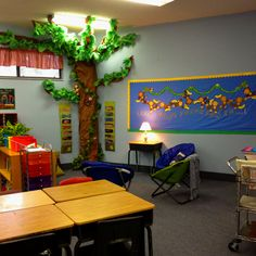 I've always wanted a tree in my room, but I've never had a classroom big enough until this year!  Our theme this year is MONKEYS and what better a companion than a tree in the reading corner.