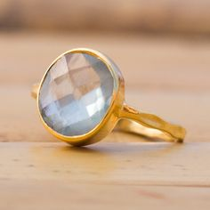 $59 18K Hand Hammered Gold Vermeil and Faceted Prehnite Ring