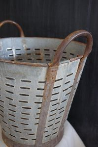 Zinc olive buckets - used to rinse olives . ..