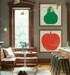 // . kitchens, wall colors, banquettes, art, nook, prints, leather, pear, appl
