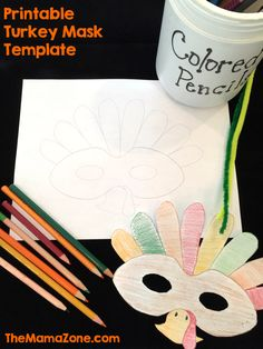 Download this free printable turkey mask template for kids. Print ...