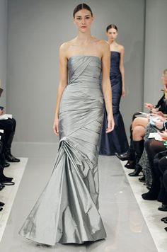 Gray gown for a black tie bridesmaid from Monique Lhuillier Bridesmaids, Fall 2013